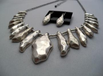 Bone Yard silver tone necklace set by shoptillyoudropnow on Zibbet