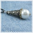 Ornate Cone and Pearl Pendant Necklace