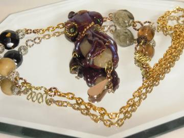 steampunk Octopus pendant with decorative gold chain, beads, wire wrapping