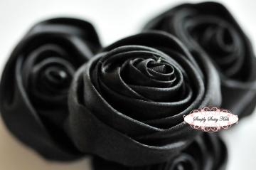 ~ Black ~  2 inch Satin Rolled Rosettes ~ Perfect roses for DIY fashion or wedding accessories hair flowers, sashes, pillows