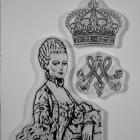 Marie Antoinette clear stamp with crown and monogram