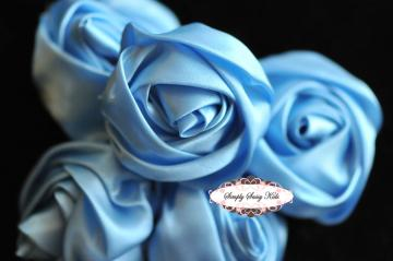~ Celestial Blue ~  2 inch Satin Rolled Rosettes ~ Perfect roses for DIY fashion or wedding accessories hair flowers, sashes, pillows
