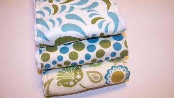 Blue Green and Cream Color Combo  Burp Cloth  Set of 3