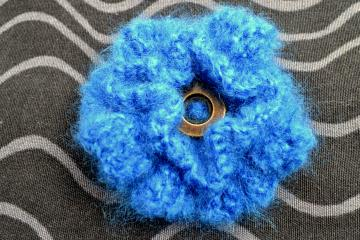 Electric Blue Crochet Double Rosette Brooch