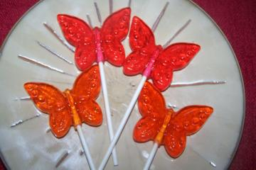 6 Beautiful Butterflies Butterfly LolliPop Suckers Party Favor