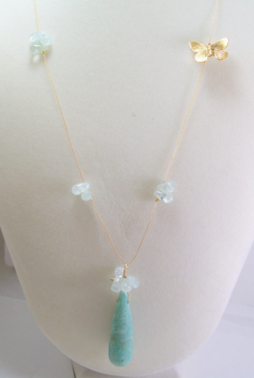 Amazonite Teardrop Pendant Necklace