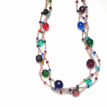 Three Strands Braided Multicolored Necklace