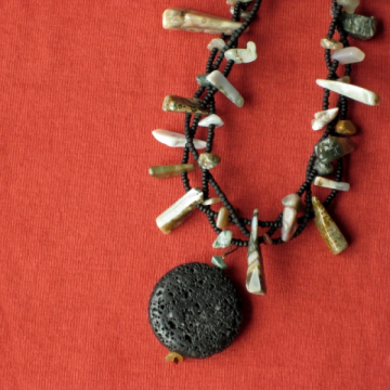 Black Lava and Ocean Jasper Chips Necklace