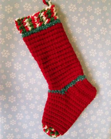 Cheery Red Christmas Stocking, crocheted, 17 inches long