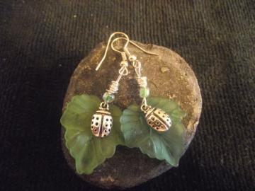 Leafy Ladybug Earrings