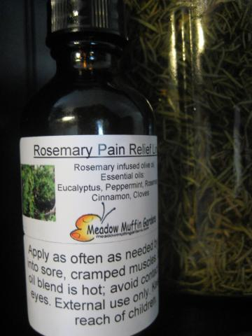 Rosemary Liniment, Herbal Oil for sore muscles, joints, bruises