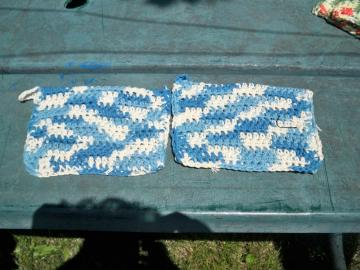 Blue and White Hotpads