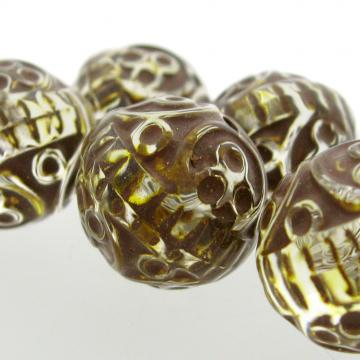 5 Vintage German Carved Acrylic Crystal Brown Yellow Core Beads 18 mm