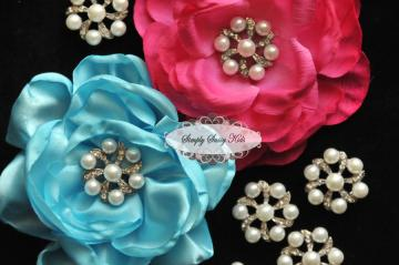 RD75 PEARL & RHINESTONE Embellishment Buttons - Add to flowers, invitations, frames, accessories ~ WHERE EVER!