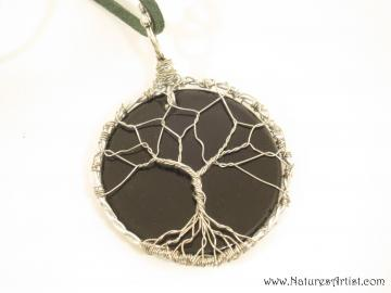Glass Pendant with Silver Tree