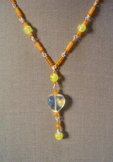 Orange Creamsicle Heart Necklace