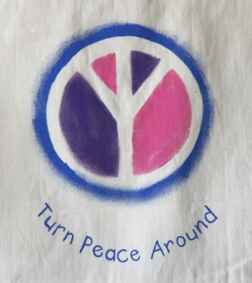 Handpainted Tote Bag in Pink, Purple and Blue - TPA