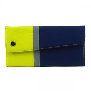 Clutch wallet with coin purse in color blocked blue, yellow, and grey.