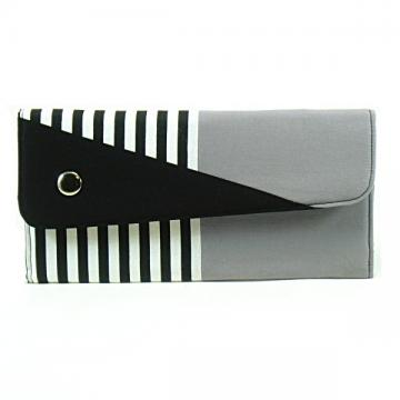 Clutch wallet with coin purse in color blocked grey and black and white stripes.