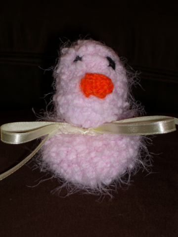 Hand Knitted Pink Soft Fluffy Chick