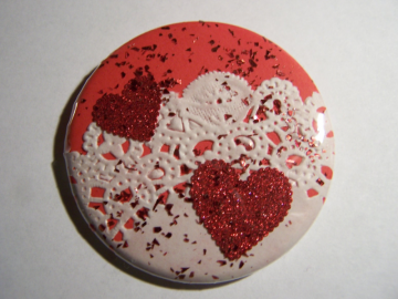 Valentine Button /Real Doily -n- Glitter