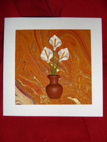 White Calla Lillies in Vase Card