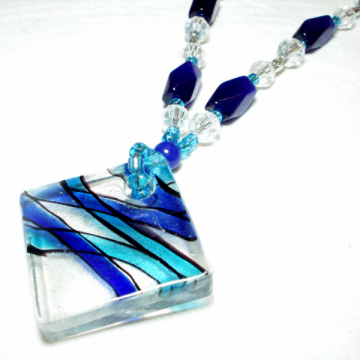 Jazzy Blues Glass Necklace