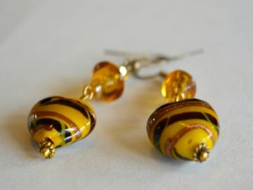 Lampwork Yellow Hearts Earrings with Black/Brown Swirls and Crystals FREE SHIPPING