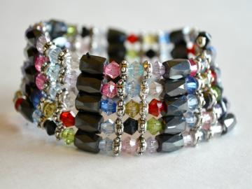 All in 1 – Magnetic Hematite Jewelry wrap with Multicolored Crystals