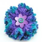 Purple and Turquoise Crocheted Ruffle Flower