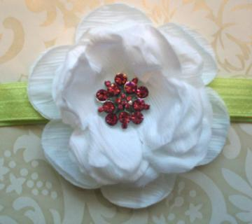 Stunning White Rose with a Bright Pink rhinestone cluster center on a celery soft stretchy headband