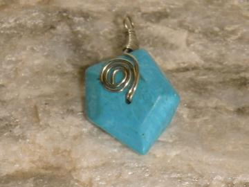 Wire Wrapped Chalk Turquoise Pendant