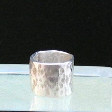 Wide Hammered Pure Silver Band Ring