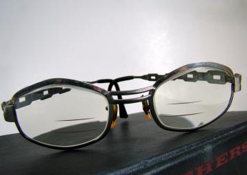Vintage Trifocal Eyeglasses in Metal Frames, Chain Link Design