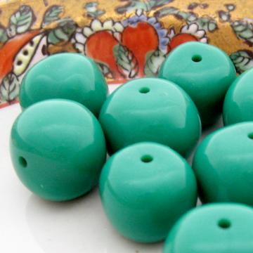 10 Vintage Acrylic Green Turquoise Nugget Beads Subtle Size Mix 11-15 mm