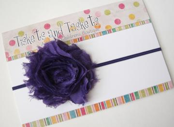 NEW.. Shabby Purple Chic Flower Rosette on chocolate Skinny Stretch Headband - Newborn Baby Infant Toddler Teens Adults Photo Prop SALE
