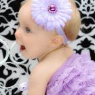 Lavender Daisy Headband with Rhinestone Button