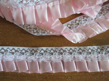 3yds - White Lace w/ Light Pink Pleated Trim