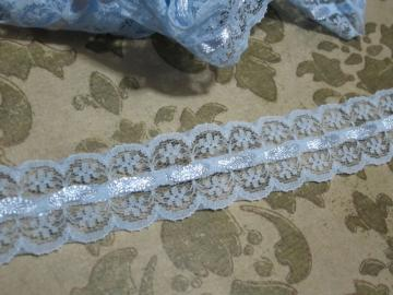 1yd - Blue Scallop Eyelet Lace w/ Satin Ribbon