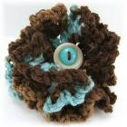 Brown and Blue Crocheted Flower A