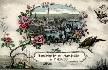Antique Paris Postcard EIFFEL Tower Collage BIRDS Roses Art Nouveau CUSTOMIZABLE Digital Scan