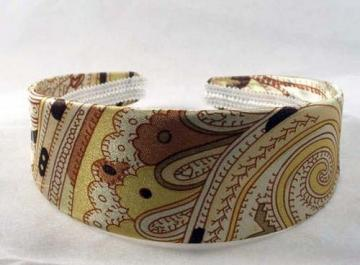 Wide Golden Yellow Paisley Handmade Headband