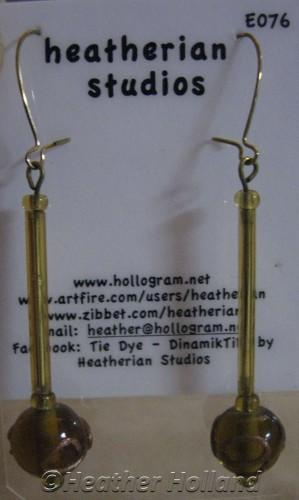 Bead Earrings Gold Glass Tubes With Tan Glass Round Glass Bead E076