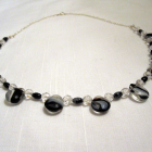 "18"" Glass, Swarovski & Black Obsidian Necklace"