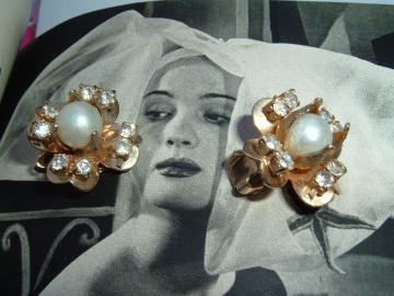 Lucky Clover Rhinestone Vintage Earrings