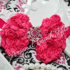 Hot Pink Chiffon Rosette Bow Headband with Rhinestone Button