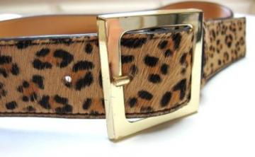 Vintage Leopard Print Leather Belt