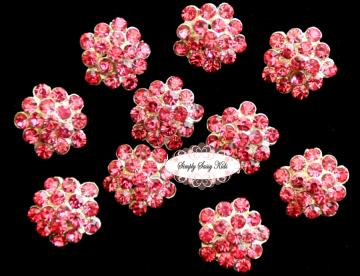 10 pcs RD64 Hot Pink Rhinestone Crystal 13mm Embellishment Buttons ~ PERFECT for adding to flowers, invitations, frames, accessories ~ WHERE EVER!