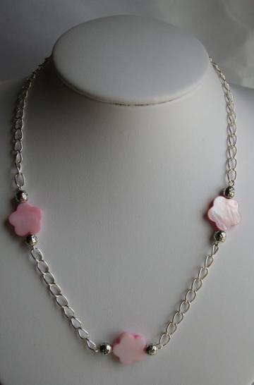 Pink Mother of Pearl & Bali Style Beads Chain Necklace and Earrings