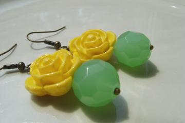Yellow  Rose Flower Dangle Earrings with Olive Green